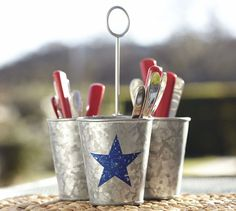 Galvanized Metal Star Condiment Set | Pottery Barn