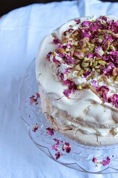Figs and Pigs: Rose and pistachio pavlova