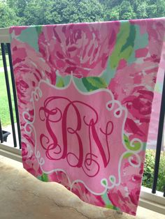 Monogram Beach Towel Flowers Personalized Roses Towel Poly/Cotton 30x60 Pink Gym Towel Pink Rose by LittleBitSassy on Etsy https://www.etsy.com/listing/195918781/monogram-beach-towel-flowers