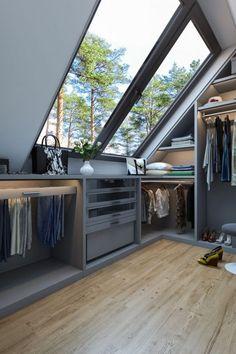 Attic Bedroom Storage, Attic Master Bedroom, Attic Bedroom Designs, Bedroom Closet Design, Bedroom Loft, Home Room Design, Dream Home Design, Home Interior Design, Attic Bedroom Closets