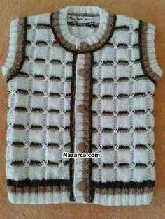 This Pin was discovered by Şaz Baby Knitting Patterns, Knitting For Kids, Knitting Designs, Knitting Stitches, Baby Patterns, Crochet Baby Booties, Baby Cardigan, Baby Sweaters, Baby Dress
