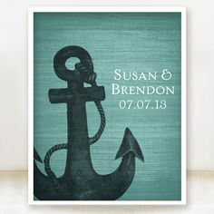Anchor Together - Custom Nautical Wedding Date and Name Print - 8x10 - Personalized Wedding Gift - Bridal Shower Gift - Engagement Present on Etsy, $20.00