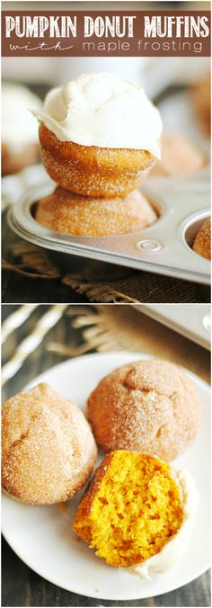 All the taste of a delicious pumpkin donut in the easier-to-make form of a (baked!) muffin! Rolled in cinnamon sugar and topped with maple f...