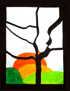 oil pastel landscape cut into pieces and mounted on black...simple and stunning contrast Oil Pastel Landscape, Fall Landscape, 4th Grade Art, Ecole Art, Kindergarten Art, Art Lessons Elementary, School Art Projects, Autumn Art, Pastel Art