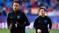 Neymar Jr, calentando antes de un partido de Liga