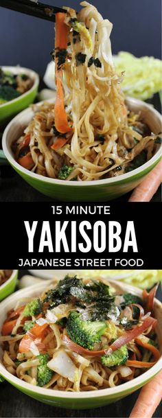 japanese food 15 Minute Yakisoba with cabbage, broccoli, carrots, bonito and seaweed flakes garnish. Best Dinner Recipes, New Recipes, Cooking Recipes, Healthy Recipes, Lunch Recipes, Healthy Food, Easy Japanese Recipes, Japanese Dishes, Japanese Street Food