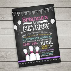Bowling Invitation for Birthday Party Chalkboard by InkandBliss