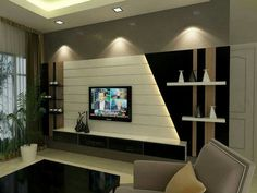Contemporary wall Unit Design. The deep dark panels n white center laminate , spot lights as highlighters ... A perfect design to add style and richness to space