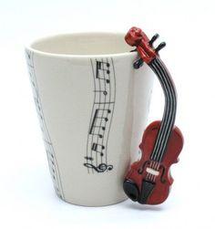Violin Mug Ceramic Coffee Cup Handmade Home Decor Music Lover Gifts | madamepomm - Housewares on ArtFire