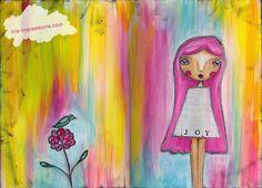Joy| mixed media in art journal | www.iris-impressions.com @rrreow