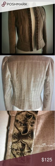 Elie Tahari  Brown Velvet Jacket  Sz L I love this jacket but it was sold to me in the wrong size. Cappuccino colored velvet with rosette trim and eyelet hooks. Just dry cleaned Great condition. Elie Tahari Jackets & Coats