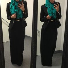 Work chic.  love the accent color of the scarf. would be even better with a matching bracelet