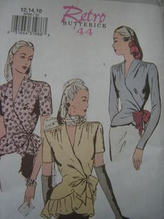 Butterick 6700 Fitted Wrap Blouse Retro 1944 Sewing Pattern  sizes 6  8  10 #Butterick 13.99+0.75 nsld 3/5/15 new