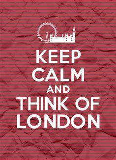 Keep Calm and Think of London - Stripes - 8x11 - Digital Printable Poster, Print, Typography, Art, Download and Print JPEG Image. $3.95, via Etsy.