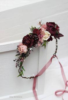 Maroon blush pink flower crown Burgundy floral headpiece