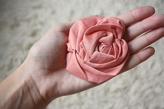 Fabric Rose tutorial. Tried it and it's so easy to make.