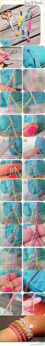 Love new friendship bracelet patterns Cute Crafts, Crafts To Do, Crafts For Kids, Arts And Crafts, Diy Crafts, Kumihimo Bracelet, Macrame Bracelets, Braided Bracelets, Floss Bracelets