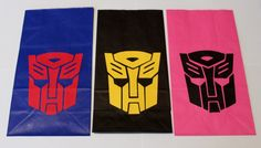 Transformers Party Favors Kids Bags. Could make stamps from foam and stamp designs on bag
