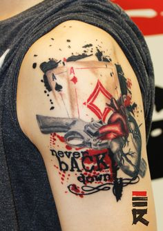 Trash polka style poker heart by enhancertattoo