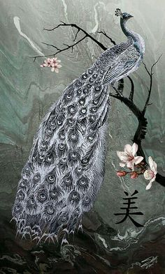 Peacock, Grey/white/black color palette with pink blossoms.