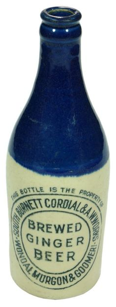 South Burnett Cordial & Aerated Water Works. Wondai, Murgon & Goomeri. Brewed Ginger Beer. Blue top, champagne shape, crown seal ginger beer antique bottle. c1930.