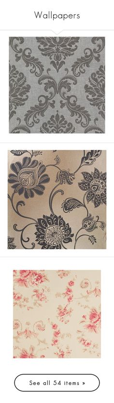 """""""Wallpapers"""" by kissfromhanoi ❤ liked on Polyvore featuring home, home decor, wallpaper, backgrounds, grey, vintage home accessories, grey vintage wallpaper, vintage home decor, vintage damask wallpaper and gray wallpaper"""