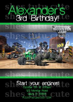 Monster Jam Ticket Style Personalized Party Invitations 599