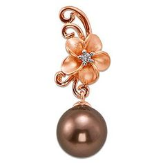 Maui Divers Chocolate Tahitian Pearl Pendant with Diamond in 14K Rose Gold. These would be cute earrings.