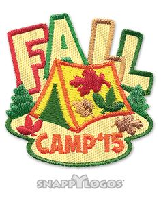 "Camp Vacation IRON ON EMBROIDERED PATCH /""FALL CAMP/"" Trip Outdoors"