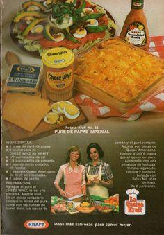 Productos Kraft. Receta de puré de papas imperial. Publicidad de 1979.