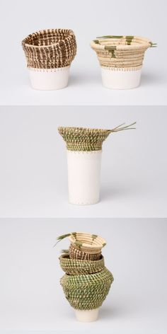 ONE OF KINDS - ENEIDA TAVARES ♦Le designer se penche sur deux techniques faits à la main et les mélanges pour créer des récipients. #Artisanat Les pièces sont faites à partir des aiguilles de pin cueillis à la main provenant des forêts de Caldas da Rainha, Portugal. Les aiguilles sont #Tissées directement sur les formes céramiques. Compléter Relier Tisser Créer un ensemble Ceramic Clay, Ceramic Plates, Ceramic Pottery, Pottery Art, Pottery Sculpture, Sculpture Clay, Deco Ethnic Chic, Sculpture Projects, Thrown Pottery