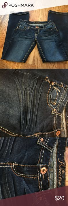 Premiere jeans. 3/4 Dark wash premier jeans with distress and designs. In great condition. Still like new. Premiere Denim by rue21 Jeans
