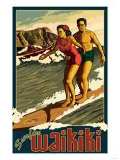 I'm sure, based on a real picture with the great duke kahanamoku helping a wahinhi surf at Waikiki with Diamond Head in the background!  I wonder how she got that hybiscus to stay in place so well?? ;-))