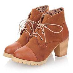 Aliexpress.com: Comprar Nuevo 2015 Vintage Flock Patchwork talón grueso mujeres motocicleta botas moda punta redonda botines con cordones para para librar botas de botas de cosméticos fiable proveedores en Fashion Kingdom