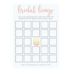 Bridal Shower Bingo Game Card | French Macarons