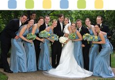 "Part 3: ""The Hamptons"" wedding style.. bridesmaids in light blue dresses & carrying bouquets featuring the color scheme, & groomsmen in traditional tuxedos."