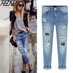 Cheap jeans jacket and pants, Buy Quality pants male directly from China jeans pants for boys Suppliers:      2015 Spring New Women Jeans Ripped Holes Fashion Straight Full Length Mid Waist Famale Washed Denim Pants Cot