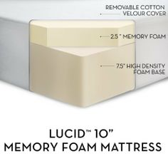"""LUCID by LinenSpa 10 Memory Foam Firm Viscoelastic Mattress 25-Year Warranty (Queen) with Mini Tool Box (fs) by LUCID by LinenSpa Memory Foam Mattress. $509.99. This mattress is pure luxury at a price that makes sense. The 10"""" thick mattress features a 2.5"""" of 3lb memory foam comfort layer and a 7.5"""" supportive foam base. The open cell technology allows air flow, keeping you cool and comfortable while you sleep. The memory foam quickly conforms to weight and..."""