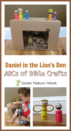 This easy cardboard box lion's den with wooden peg people can be put together in 30 minutes and provides loads of fun for a toddler or preschool aged child. Perhaps even an older child would love it! - www.christianmontessorinetwork.com