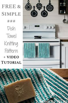 Grab this FREE beginner dish towel knitting pattern while alternating 2 differen. Grab this FREE beginner dish towel knitting pattern while alternating 2 different colors in the super easy garter stitch. Dishcloth Knitting Patterns, Knitted Afghans, Crochet Dishcloths, Crocheted Toys, Knitting For Dummies, Funny Home Decor, Crochet Towel, Knitting Projects, Knitting Ideas