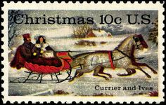 "The 10-cent Currier and Ives Christmas stamp was first placed on sale at New York City on October 23, 1974. Based on a Currier and Ives print entitled ""The Road Winter."""