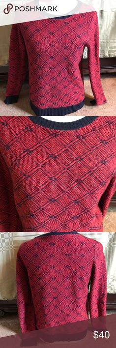 J.Crew Factory Red and Navy Argyle Sweater Super cozy red and navy argyle sweater from J.Crew Factory. Looks great with dark jeans and black boots. Also perfect with leggings for a quieter day at home or running errands. J. Crew Factory Sweaters