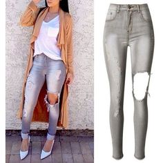 Ellsy Distressed Jeans ($29) ❤ liked on Polyvore featuring jeans, destruction jeans, distressing jeans, torn jeans, white destroyed jeans and destroyed jeans