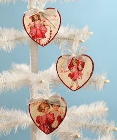 Bethany Lowe Valentine Children Heart Pressed Paper Ornament Set of 3