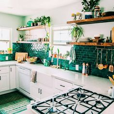 """183 Likes, 8 Comments - @tiletuesday on Instagram: """"It's easy--and dreamy--being #green, as see in the lush #kitchendesign of epically talented,…"""""""
