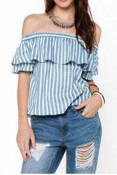 This season, it's all about stripes, ruffles, and off-shoulder detailing! Add the perfect finishing touch with this off-shoulder denim-inspired top, complimented with all-around ruffling details. Nautical Stripes, Stripe Top, Compliments, Ruffles, Off The Shoulder, Highlights, Florida, Ruffle Blouse, Touch
