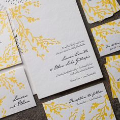 the robson suite. design highlights: letterpress printing. vibrant back patterning. grommeted save the dates. bright edge painting. botanical minimalism.