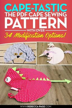 Awesome cape pdf sewing pattern.... perfect for halloween, costumes, diy gift, dressing up!