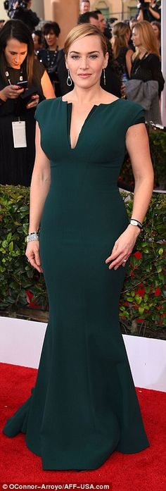 Stealing the show: Kate Winslet (L), Helen Mirren (C) and Emilia Clarke (R) led the glamorous brigade of British beauties at theScreen Actors Guild Awards at The Shrine Auditorium in Los Angeles on Saturday