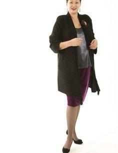 Scarf Jacket Black Filigree (Plus-Size)